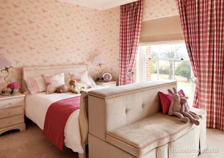 儿童房粉色窗帘美式风格装修设计图片