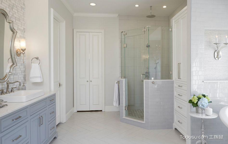 浴室米色地砖美式风格装饰效果图