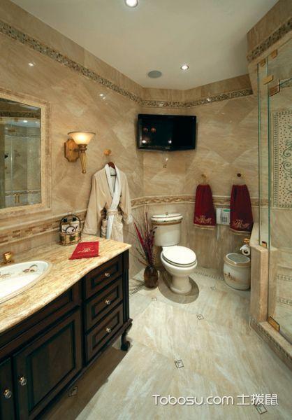 浴室黄色地砖地中海风格装潢设计图片