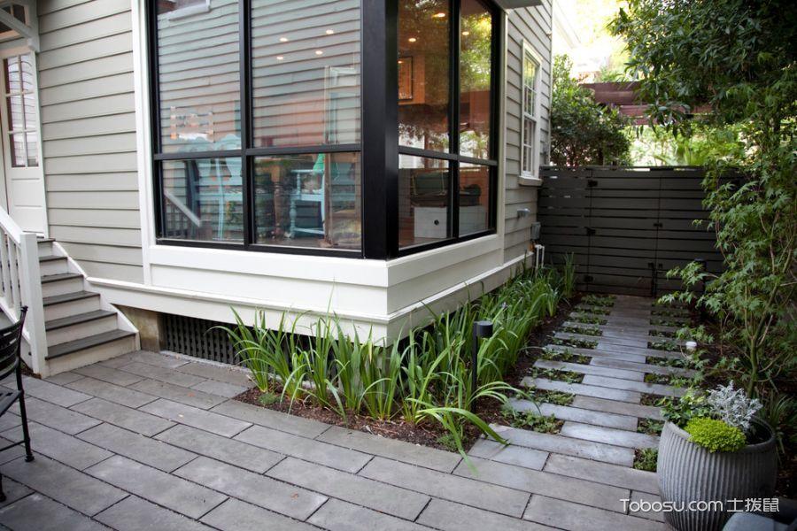 花园灰色背景墙现代风格装潢图片