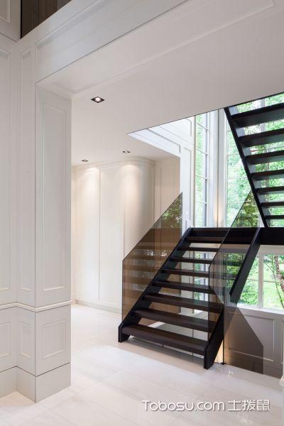 玄关灰色楼梯现代风格装潢图片