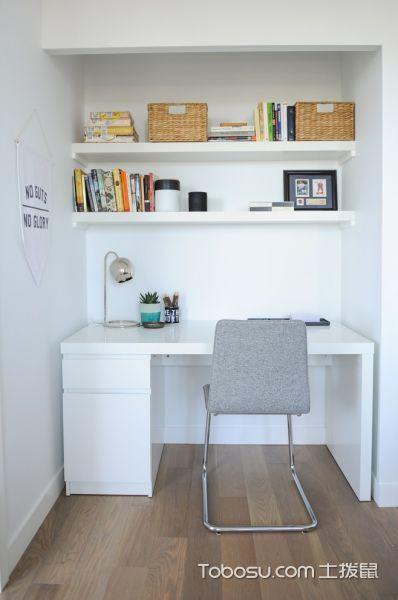 书房咖啡色地板砖北欧风格装修图片