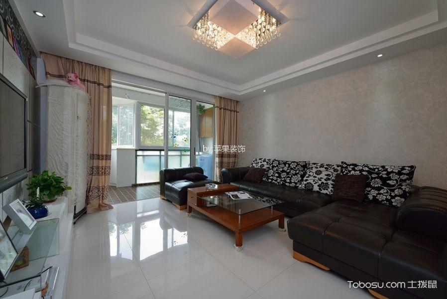 棠湖春天99平米现代简约风格三居室装修效果图