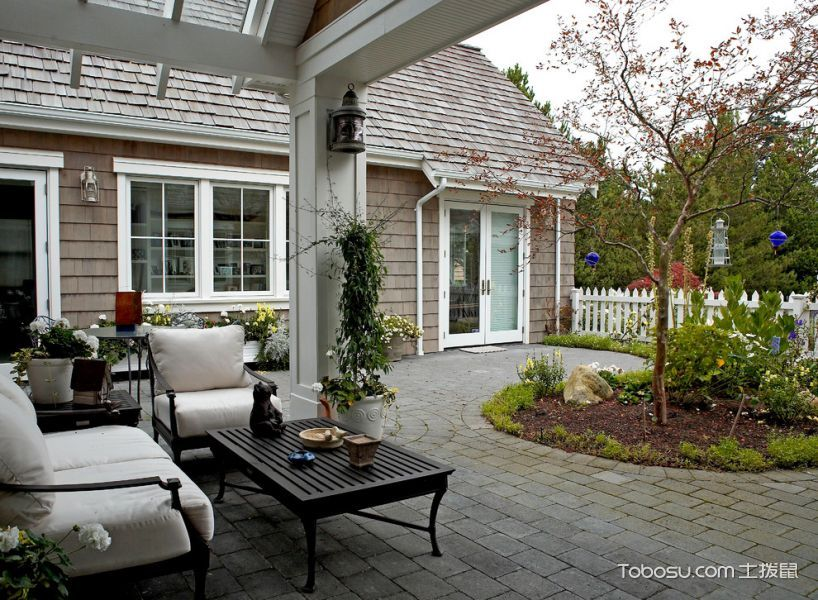 阳台灰色地板砖简欧风格装潢设计图片