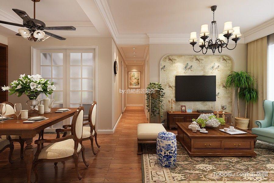 绿地中心85平方两室两厅户型美式风格装修效果图