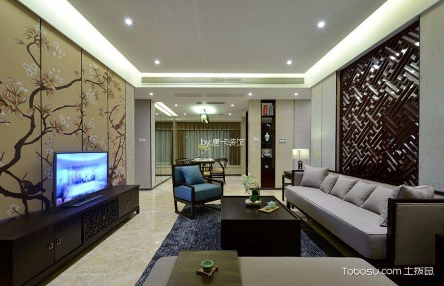 八国公馆120平方新中式三居室装修效果图
