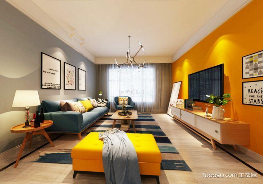 客厅 背景墙_百大康桥118平米北欧风格三居室装修效果图