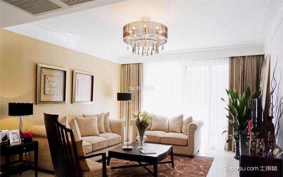 紫金城136平美式风格三居室装修效果图