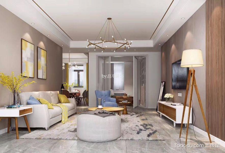 新力雅园110平米现代简约风二居室装修效果图
