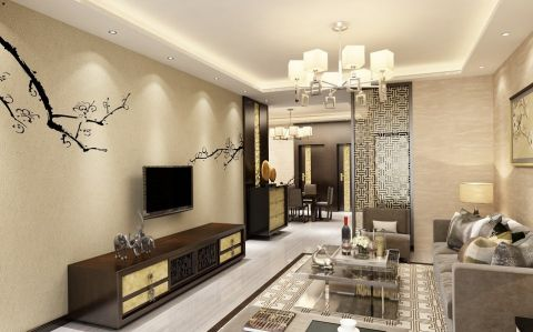 绿地120平米中式古典风格三室俩厅俩卫装修效果图