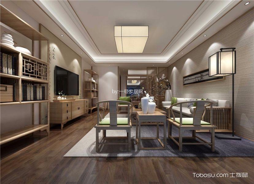 海龙香槟120平三居室新中式风格装修效果图