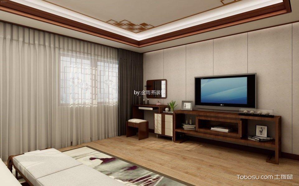 卧室咖啡色电视柜新中式风格装修图片