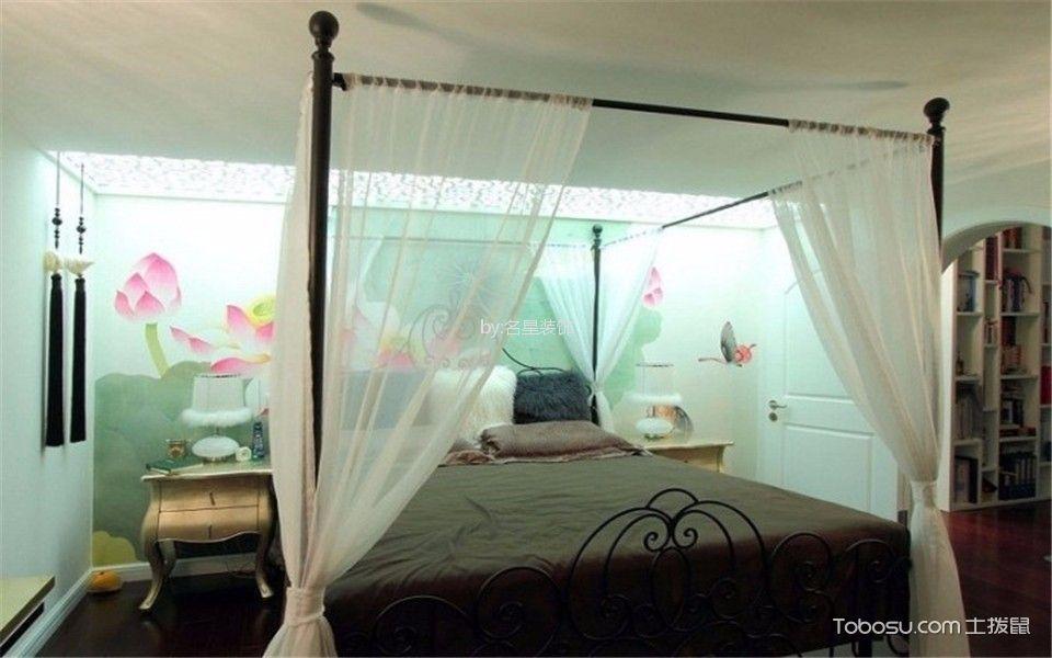 卧室灰色床中式古典风格装饰效果图