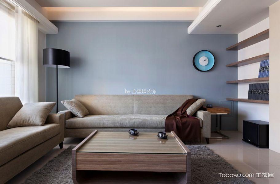 东海岸90㎡简约风格三室一厅一卫装修效果图