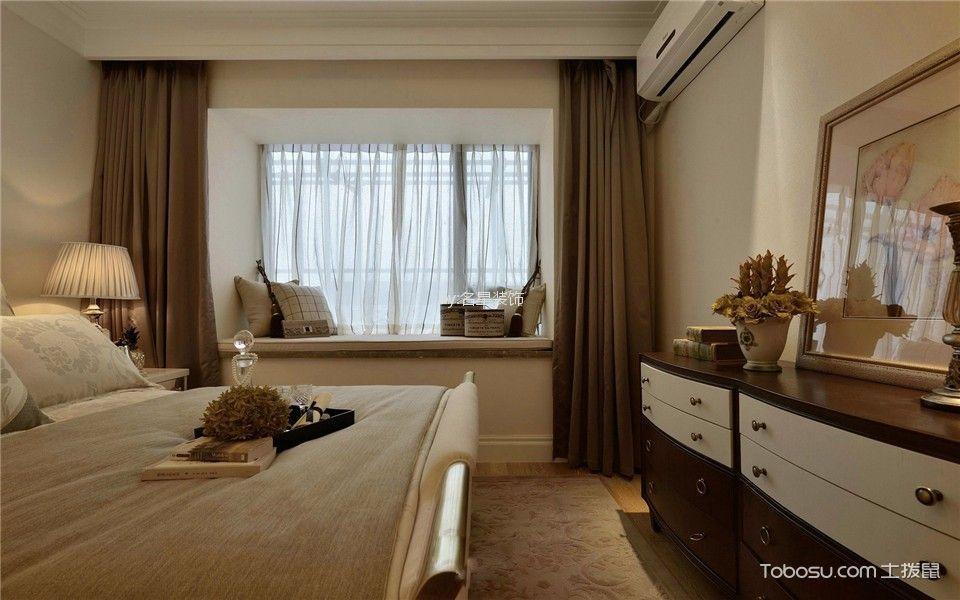 卧室 飘窗_华侨城120平新中式风格三房装修效果图