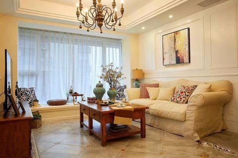 90平美式风格三室两厅装修效果图