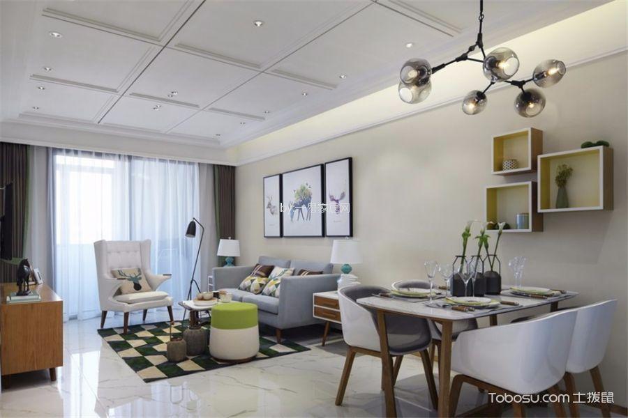 百合花園80平兩居室現代北歐風格裝修案例效果圖