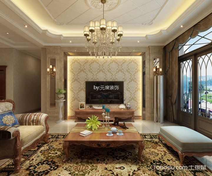 赵县自建二层简欧风格五室三厅装修效果图