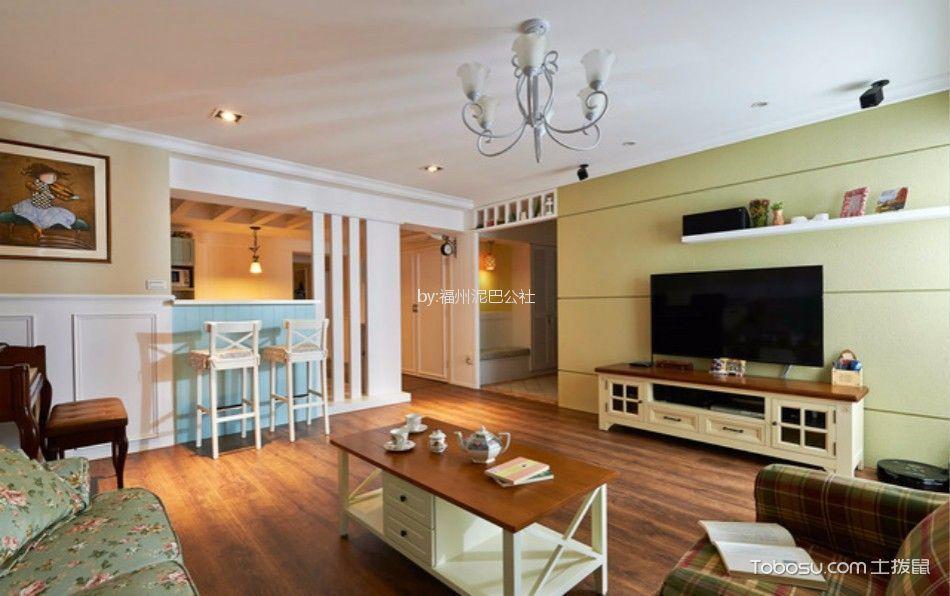 客厅 背景墙_西湖好美家100平三室两厅美式装修风格效果图