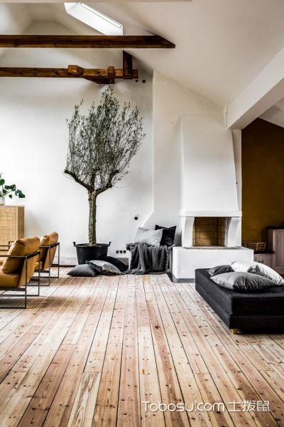 客厅白色地砖北欧风格装修效果图