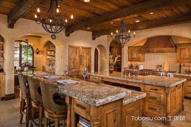 厨房咖啡色厨房岛台地中海风格装修设计图片