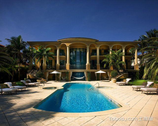 花园黄色泳池地中海风格装修设计图片