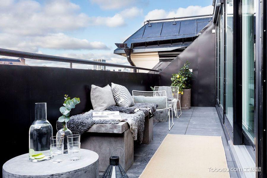 阳台灰色沙发北欧风格效果图