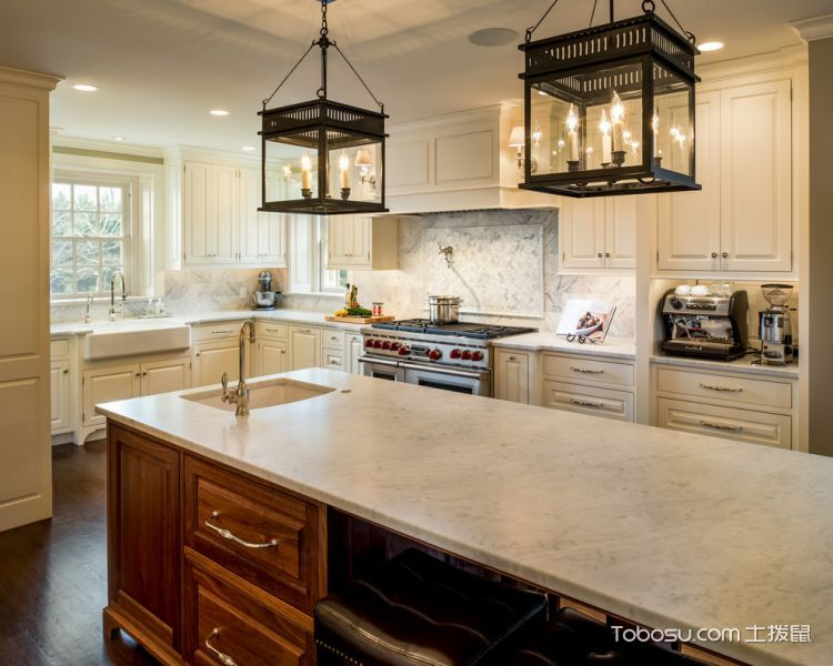 厨房白色细节美式风格装潢效果图