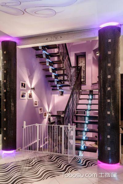 客厅彩色楼梯混搭风格效果图