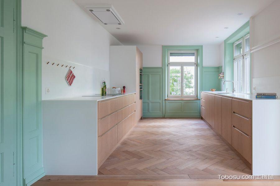 厨房咖啡色地板砖北欧风格装饰图片