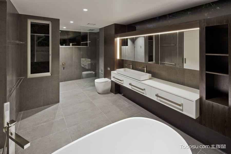 浴室咖啡色洗漱台现代风格装潢效果图