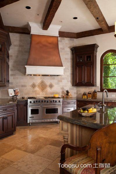 厨房咖啡色厨房岛台地中海风格装饰效果图