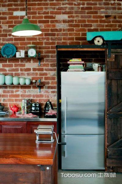 厨房红色背景墙简欧风格装饰设计图片