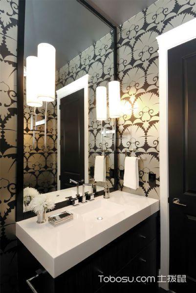 浴室咖啡色洗漱台现代风格装饰设计图片