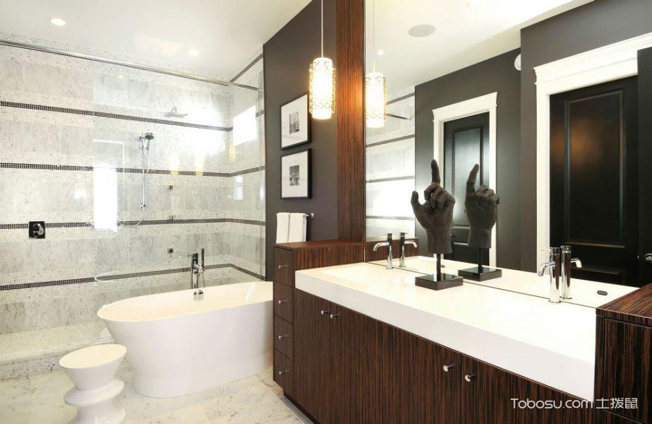 浴室白色洗漱台现代风格效果图