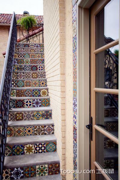 花园咖啡色楼梯地中海风格装修设计图片