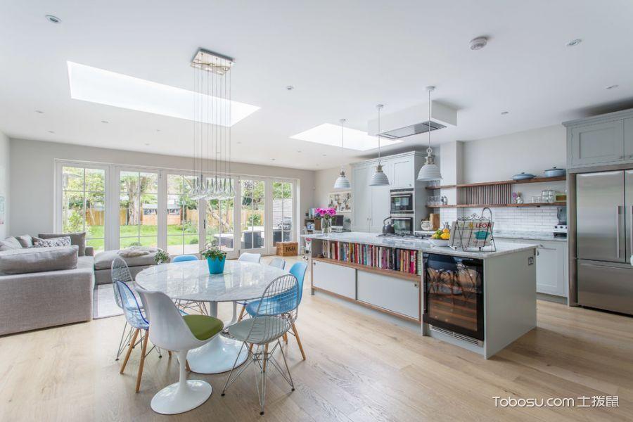 厨房白色餐桌现代风格装修设计图片