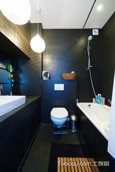 浴室黑色背景墙北欧风格装饰效果图