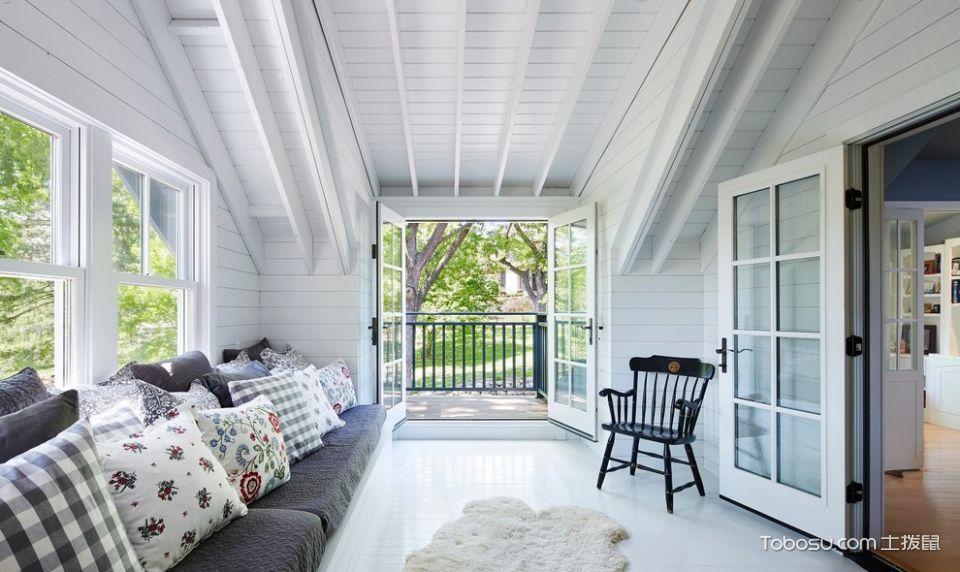 阳台灰色沙发美式风格装潢图片