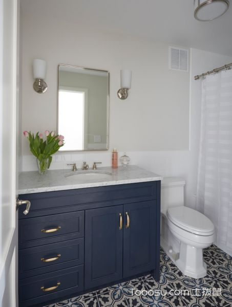 卫生间蓝色细节美式风格装修设计图片
