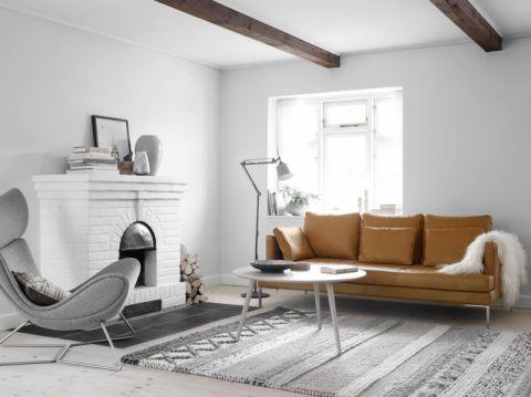 客厅黄色沙发北欧风格装潢效果图
