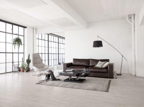 客厅咖啡色沙发北欧风格装饰设计图片