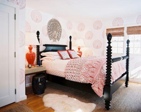 卧室黑色床简欧风格装潢设计图片