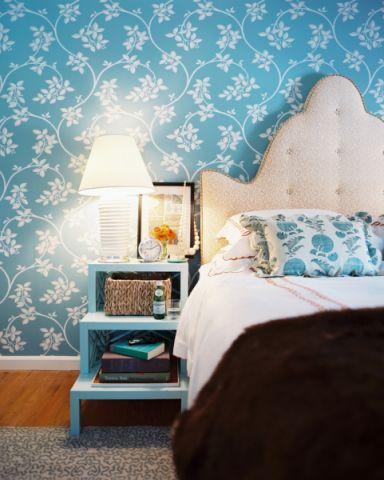 卧室蓝色床头柜简欧风格效果图