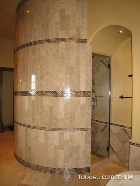 浴室黄色地砖地中海风格装修图片