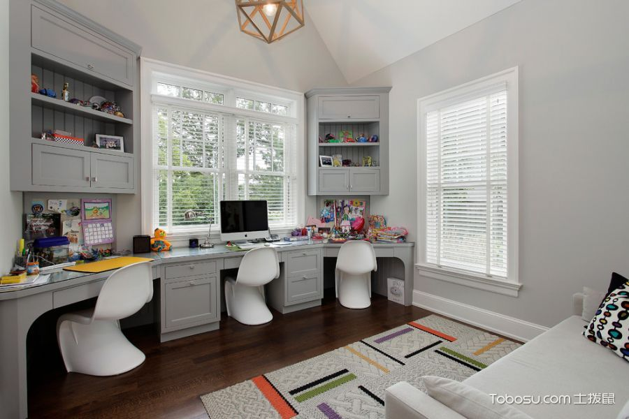 儿童房白色书桌美式风格装潢设计图片