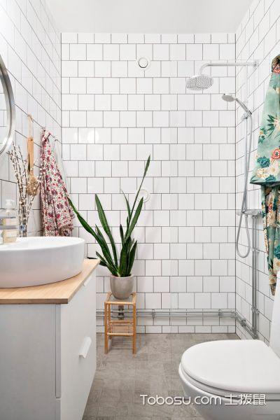 卫生间灰色地砖北欧风格装修效果图