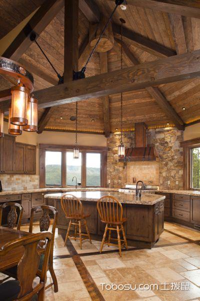 厨房咖啡色吊顶混搭风格装饰效果图