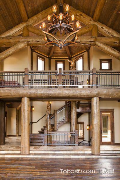 客厅咖啡色楼梯混搭风格装潢效果图