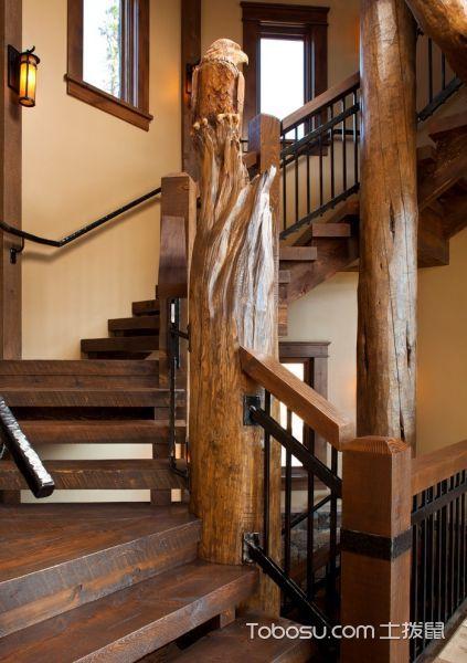 客厅咖啡色楼梯混搭风格装潢图片